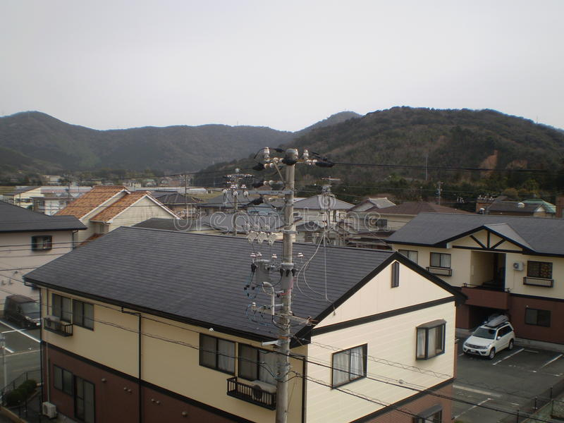 Power Pole And Homes (Japan) Stock Photo - Image of casas, bosque ...
