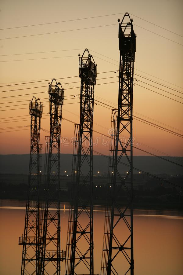 Power pole, power tower royalty free stock image