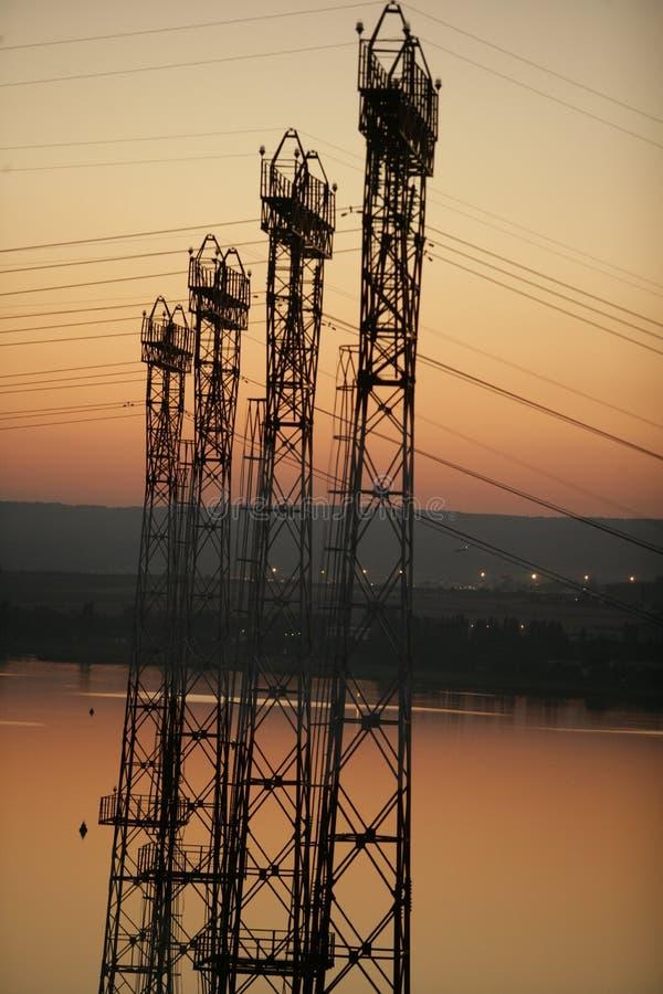 Power pole, power tower stock image