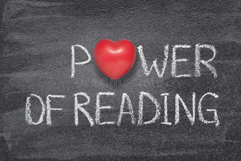 Power of reading heart. Power of reading phrase written on chalkboard with red heart symbol instead of O stock illustration