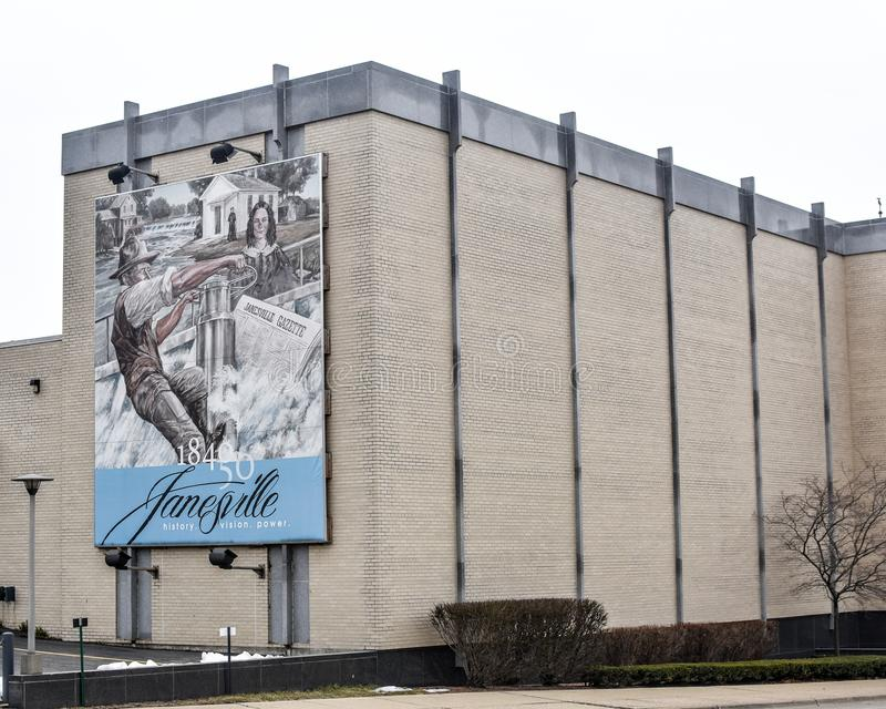 The Power of the River mural - Janesville, WI royalty free stock images