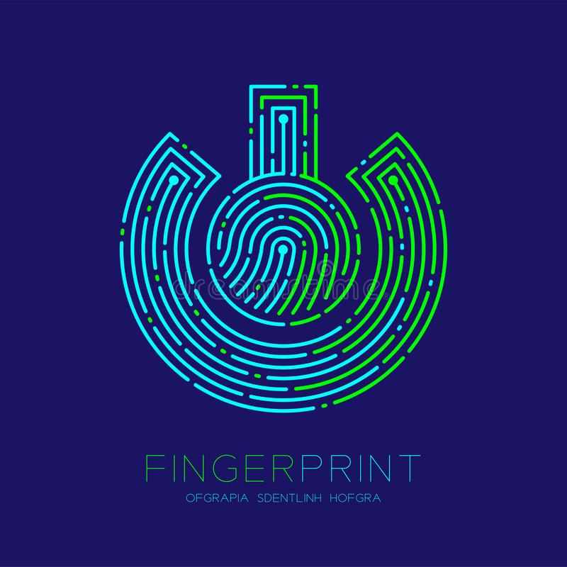 Power sign Fingerprint scan pattern logo dash line, digital technology connect concept, Editable stroke illustration green and. Blue isolated on dark blue vector illustration