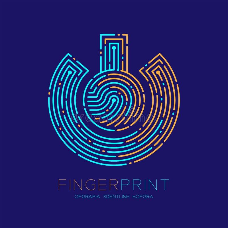 Power sign Fingerprint scan pattern logo dash line, digital technology connect concept, Editable stroke illustration orange and. Blue isolated on dark blue royalty free illustration
