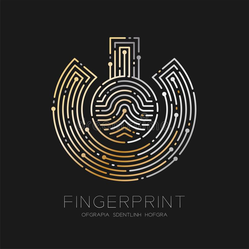 Power sign Fingerprint scan pattern logo dash line, digital technology connect concept, illustration silver and gold isolated on. Black background with vector illustration