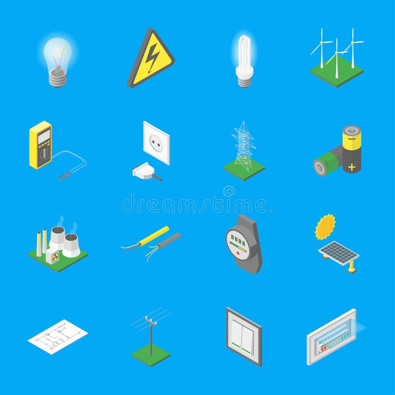 Power Signs Icons Set Isometric View. Vector vector illustration