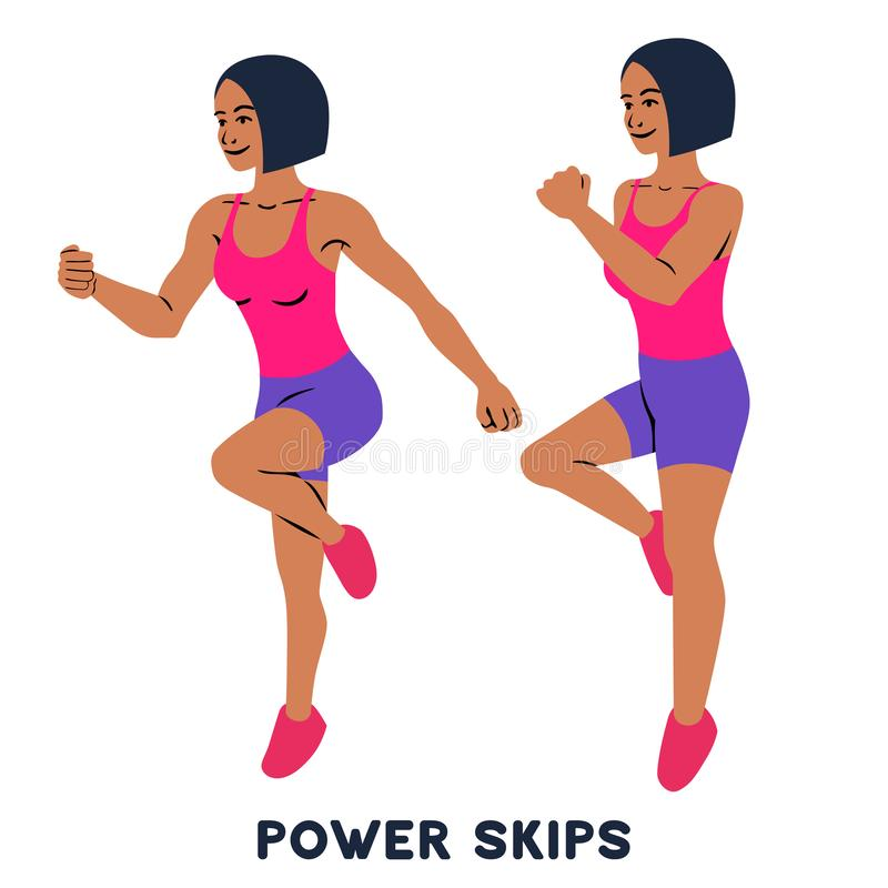 Free Power Skips. Sport Exersice. Silhouettes Of Woman Doing Exercise. Workout, Training Stock Photography - 134138122