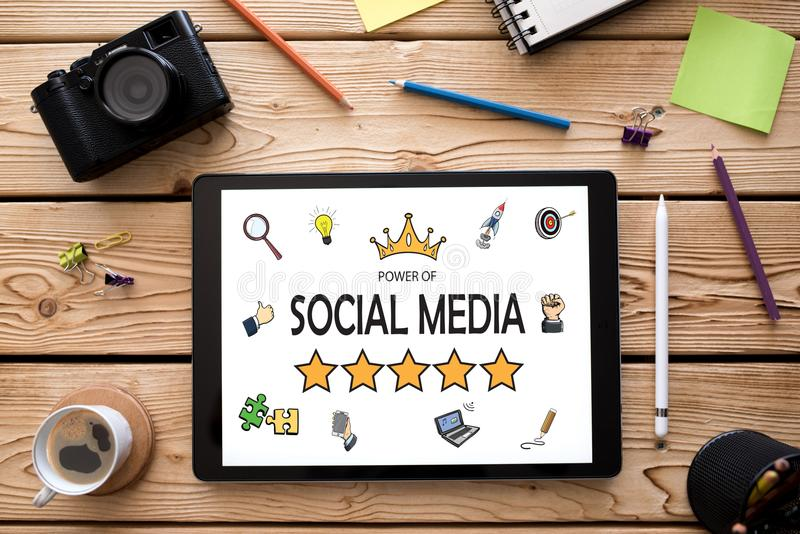 Power of Social Media Concept on Digital Tablet stock image