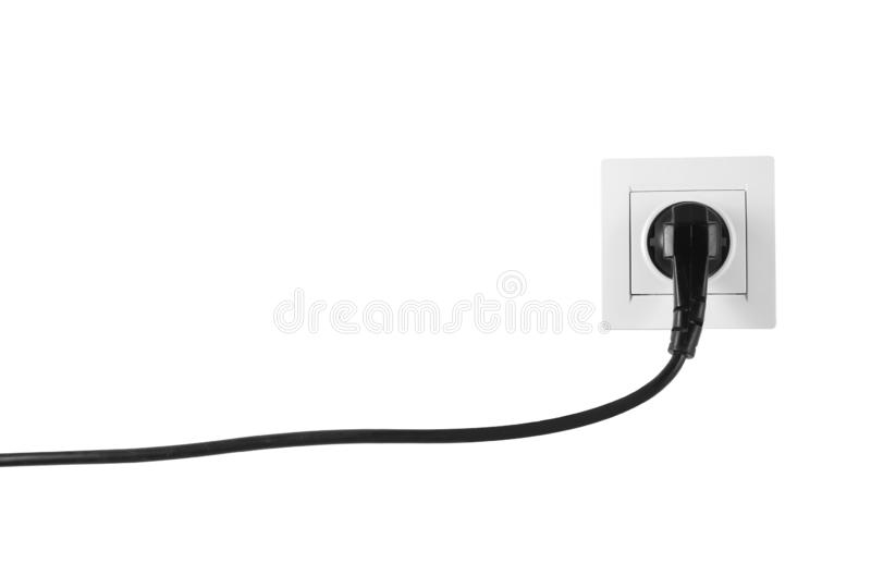 Power socket and plug on white background. Electrician`s equipment stock photos
