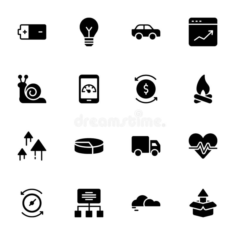 Power, Speed, Graph, Sprint, Solid Icons Set vector illustration