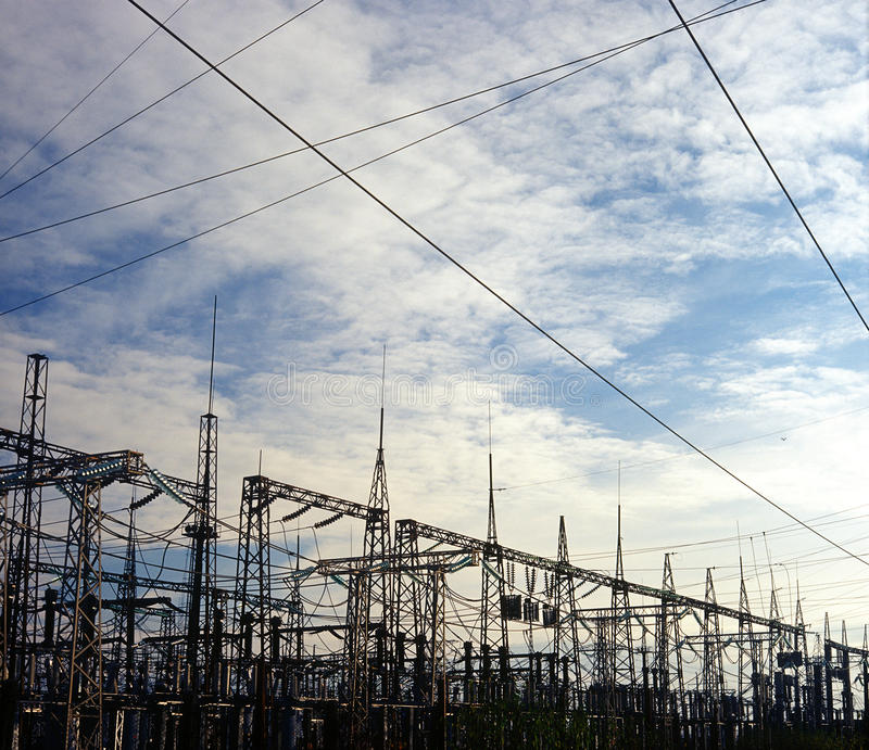 Download Power station. stock photo. Image of pylon, cloud, high - 17666254