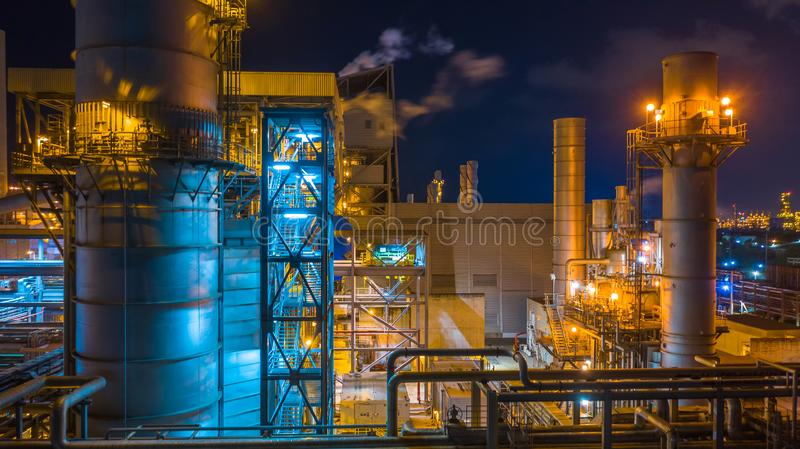Power station, Combined heat power plant at night, Large combined cycle power plant stock image