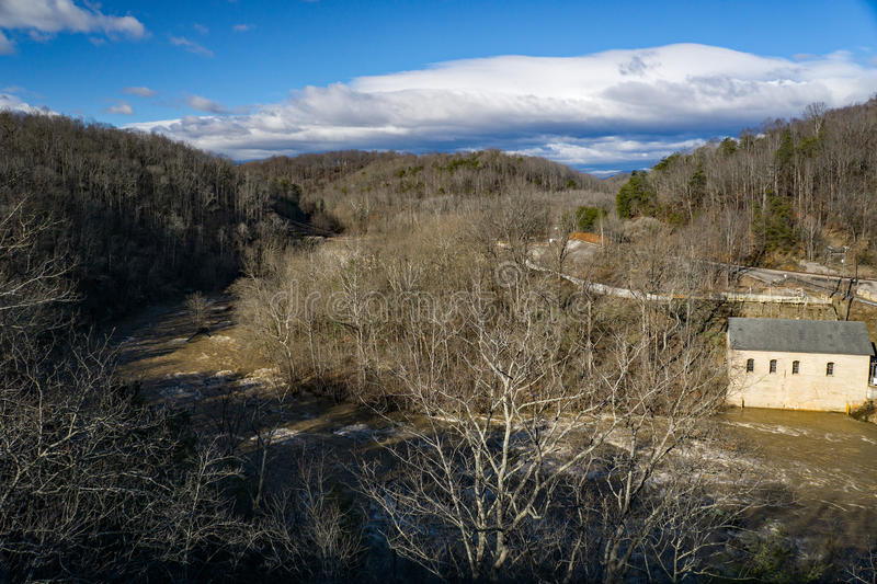 Power Station and Dam on the Roanoke River stock photography