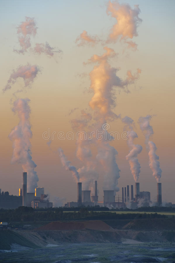 Power station at dawn. Frimmersdorf power plant at dawn stock photos