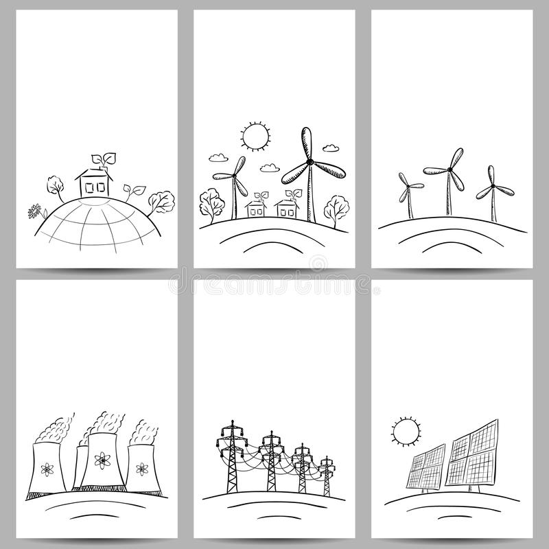 Power station energy banners vector illustration