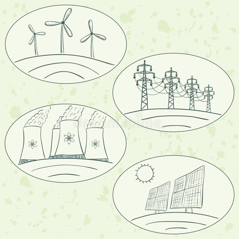 Power station energy doodles stock illustration
