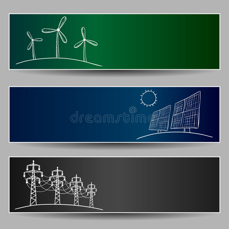 Power station energy doodles vector illustration