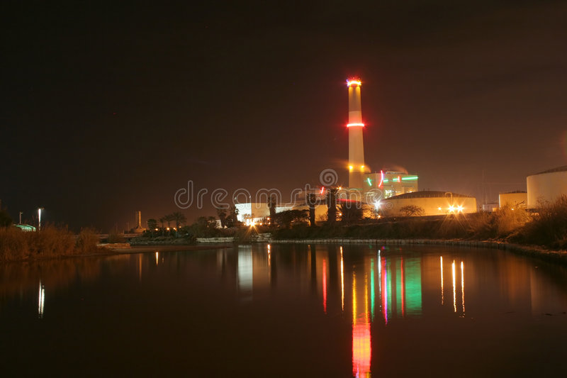 Power Station at Night. Tel-Aviv Reiding Power Station at night, as seen from the Yarkon river royalty free stock images