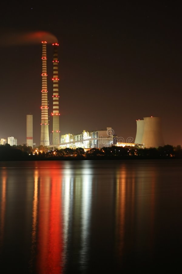 Power station by night royalty free stock photography