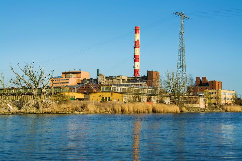 Power station and river in the city of Elblag, Poland.  stock photos