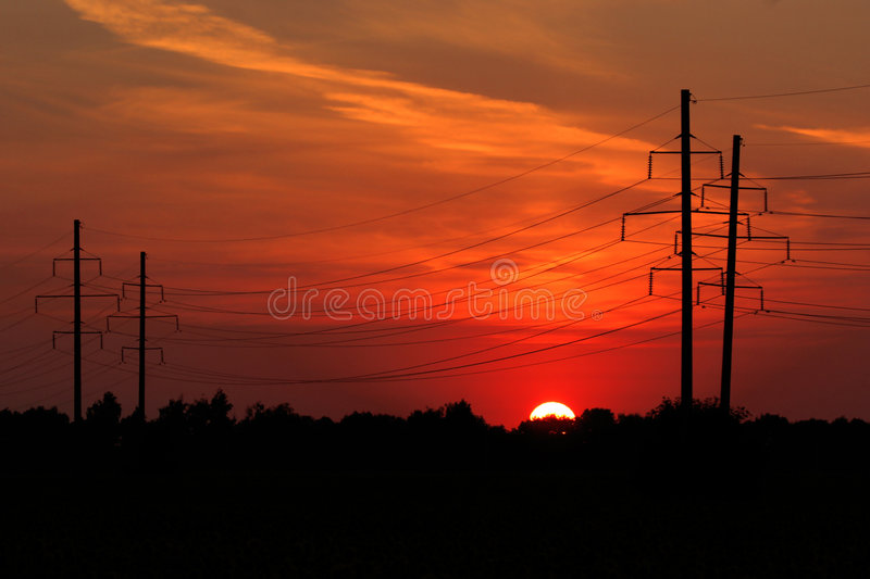 Download Power sunset stock photo. Image of blue, factory, connect - 188800