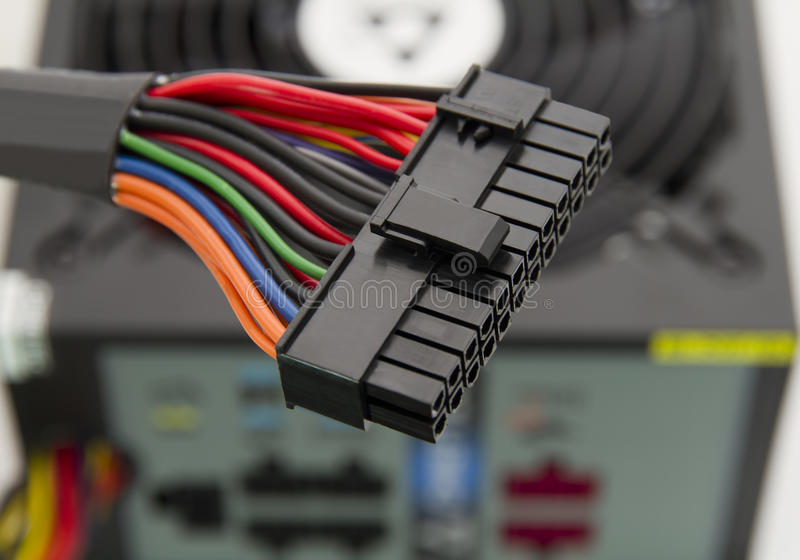 Power supply connector stock photo