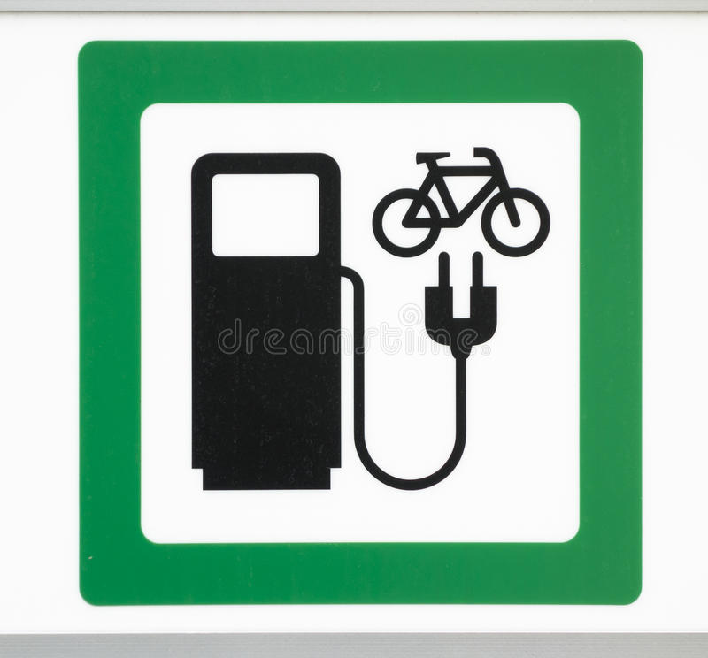 Power supply for electric bikes. Illustration of a sign for a power supply for electric bikes stock photography