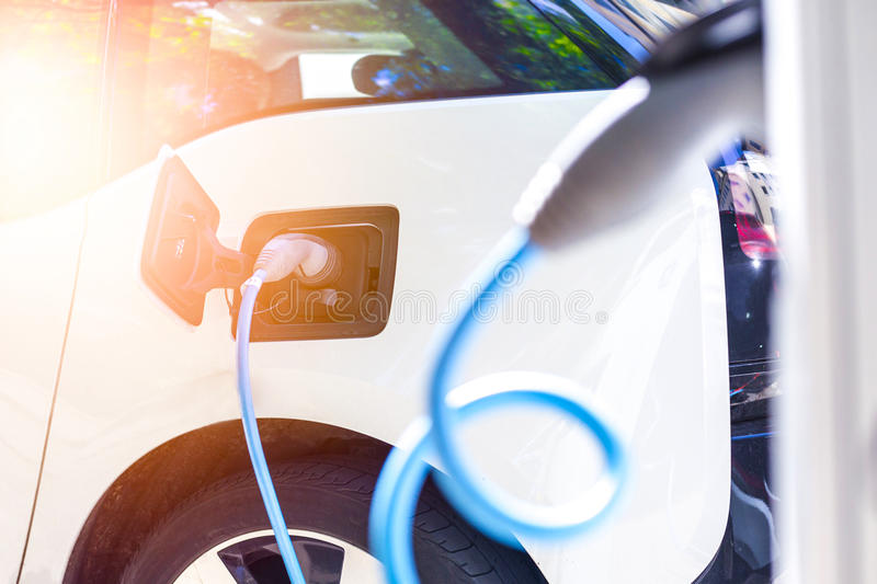 Power supply for electric car charging. royalty free stock photo