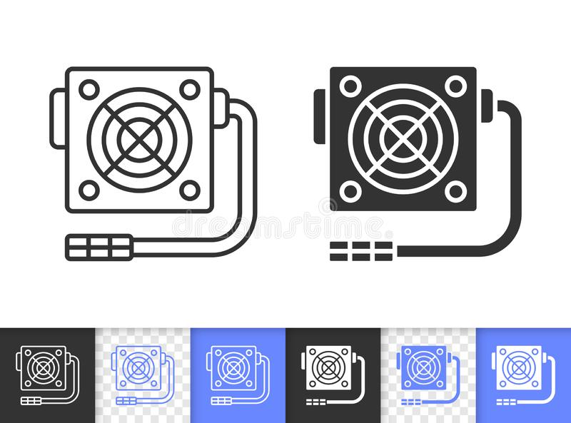 Power Supply simple black line vector icon vector illustration