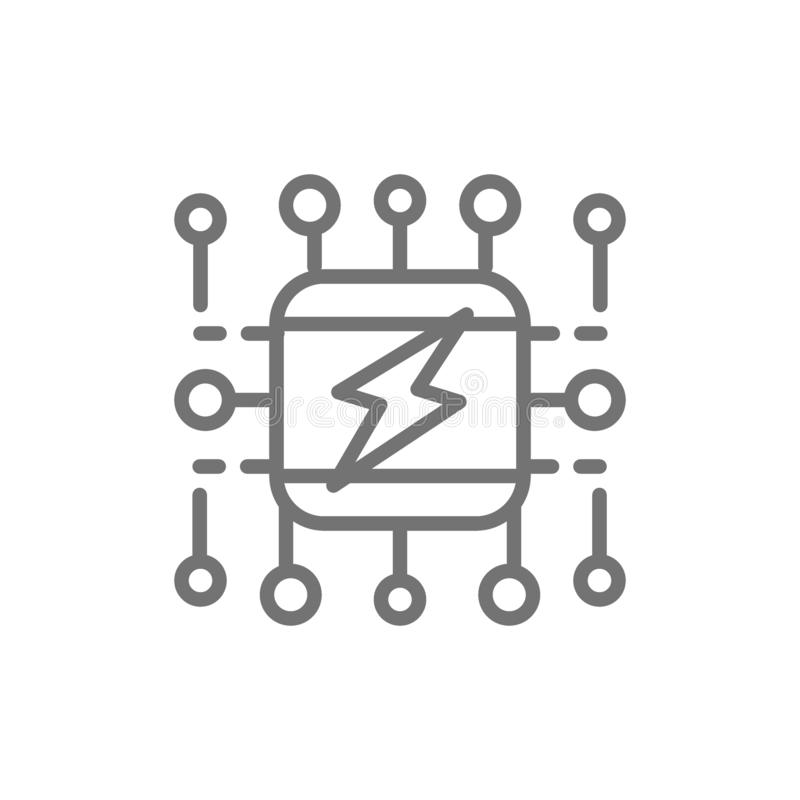 Power supply system, smart electricity system scheme line icon. royalty free illustration