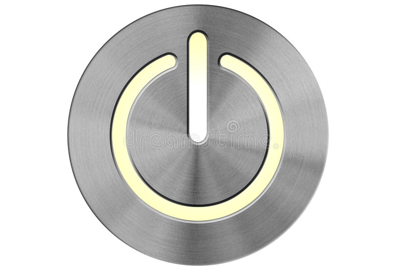 Power switch. Circularly brushed stainless steel illuminated power switch stock illustration