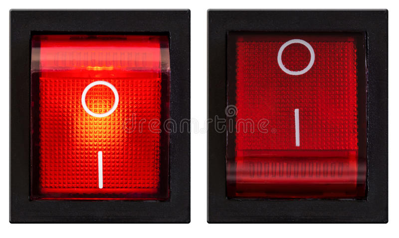 Power switch turned on and off set. Isolated stock photo