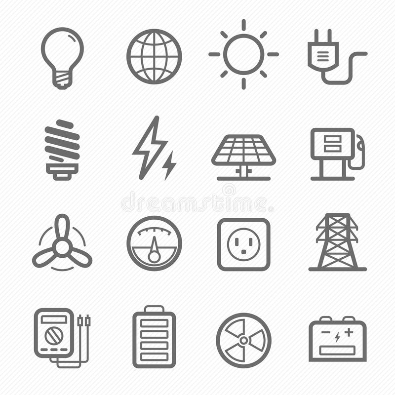 Free Power Symbol Line Icon Set Stock Photography - 33079242