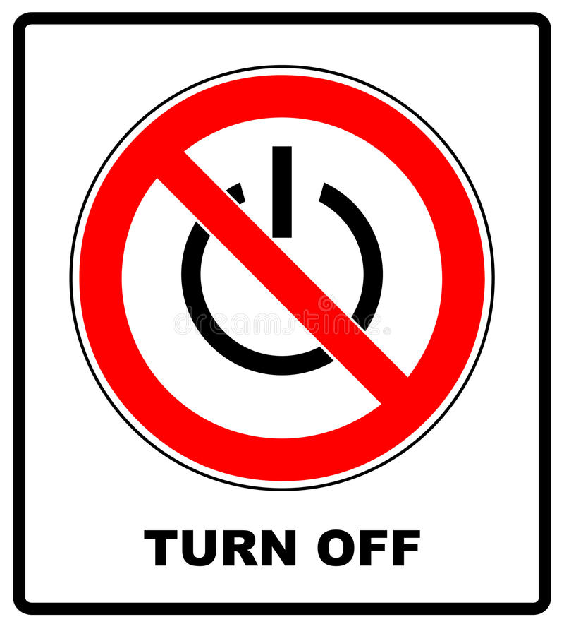 Power symbol and prohibition sign. Black out, no electricity, turn off your devices concept royalty free illustration