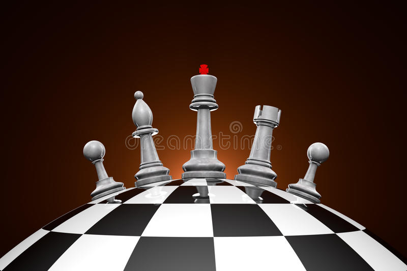 Power. Symbolic frame (world order). Chess pieces on a chess field stock illustration