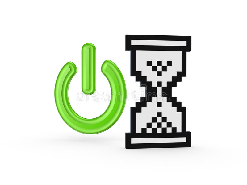 Download Power Symnol And  Sandglass Icon. Stock Illustration - Illustration of electric, internet: 35522432