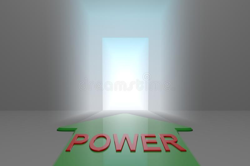 Power to the open gate. Green arrow with power word front of the open gate , 3d rendered royalty free illustration