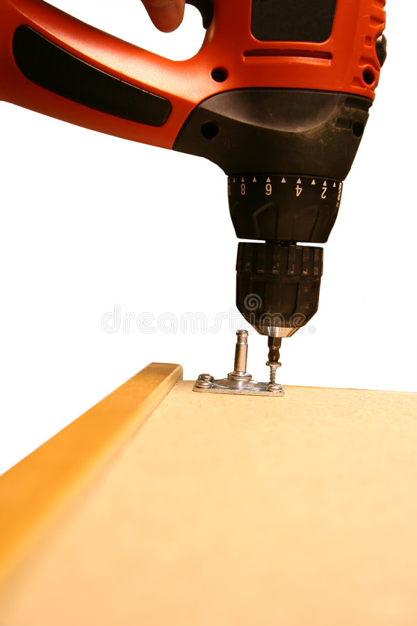 Power Tool. Drilling Down a on White Background stock photography