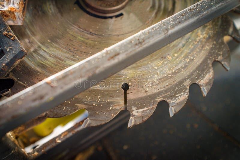 Power Tool Circular Saw. Old worn circular saw power tool cutting wood royalty free stock photos
