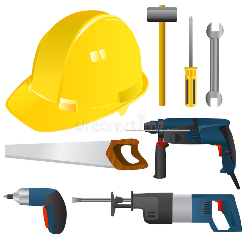 Download Power tools vector stock vector. Image of silhouette, drilling - 6145348