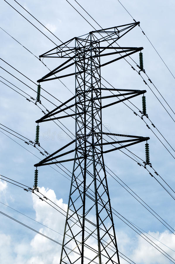 Power Tower. Highly dangerous Power Tower and transmitting power sources stock photography