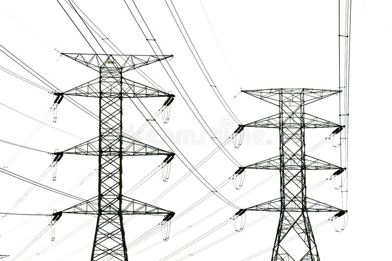 Power Tower and power lines. Acute degree dangerous Power Tower and power lines royalty free stock image