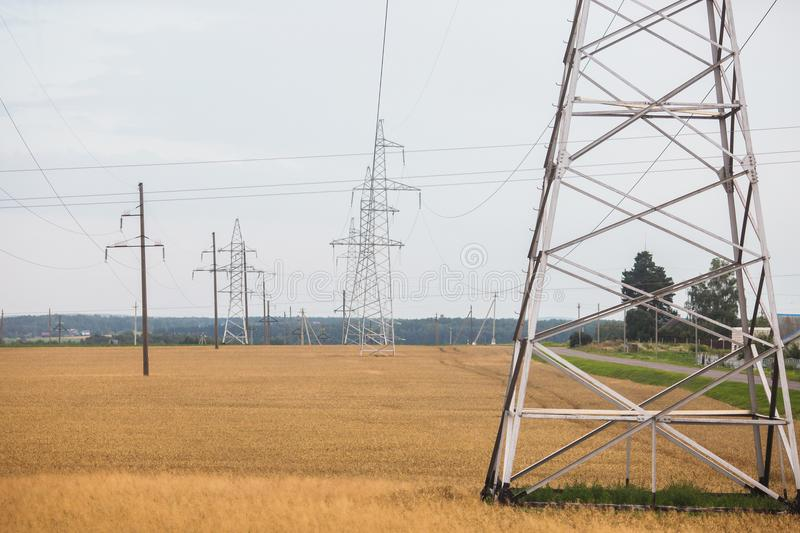 Power towers against the sky. stock photography