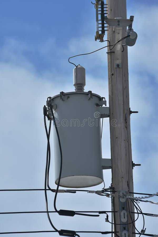 Power Tranformer. An image of a power transformer on a wooden power pole royalty free stock images