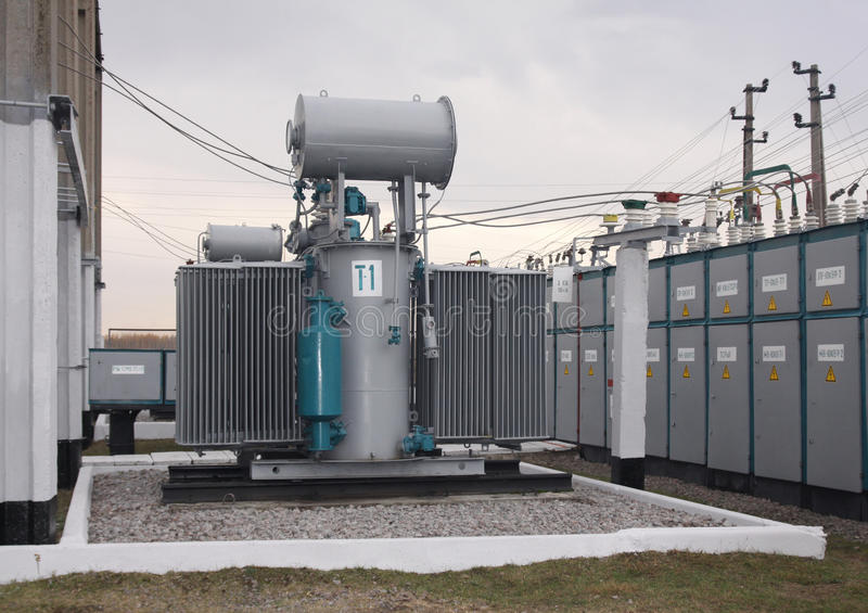 Power transformer stock photo