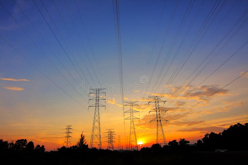 Power transformers at sunset stock photography