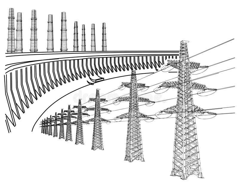 Download Power Transmission Line stock vector. Image of industrial - 28305882
