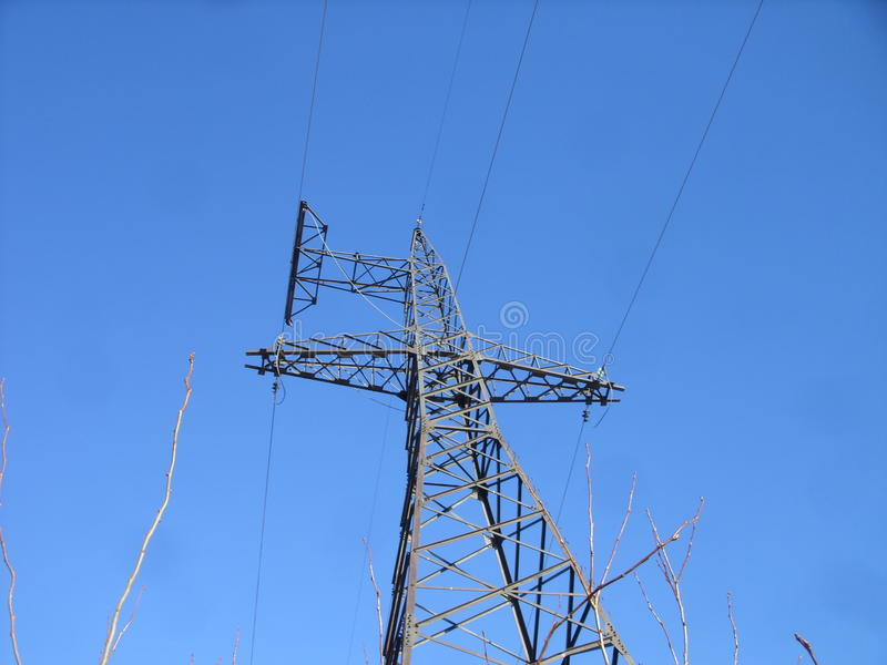 Power transmission line tower and heaven royalty free stock images