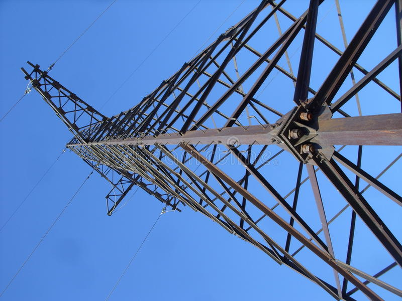 Power transmission line tower and heaven royalty free stock photography