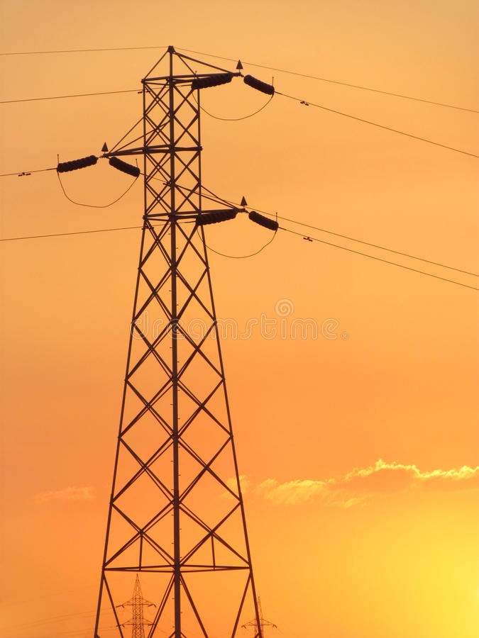 Power grid and electricity supply towers stock image
