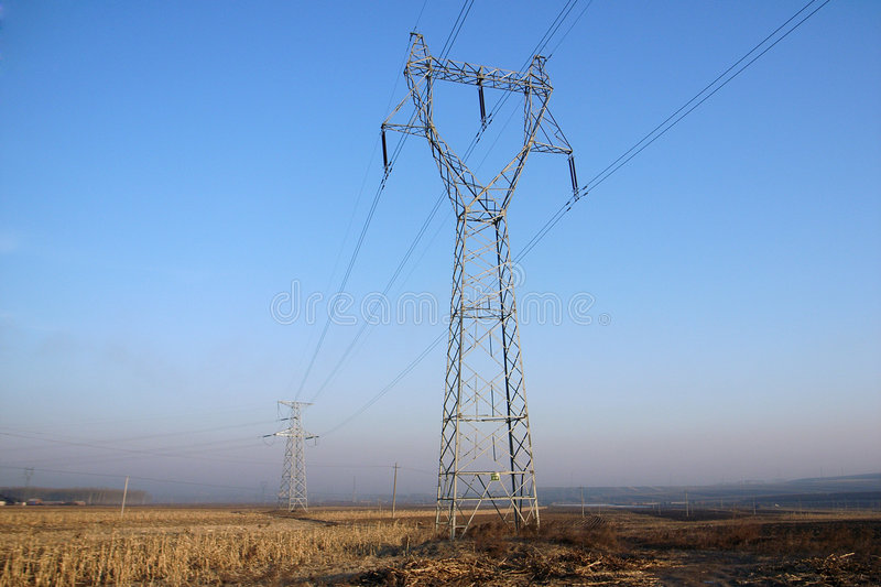Power transmission tower stock image